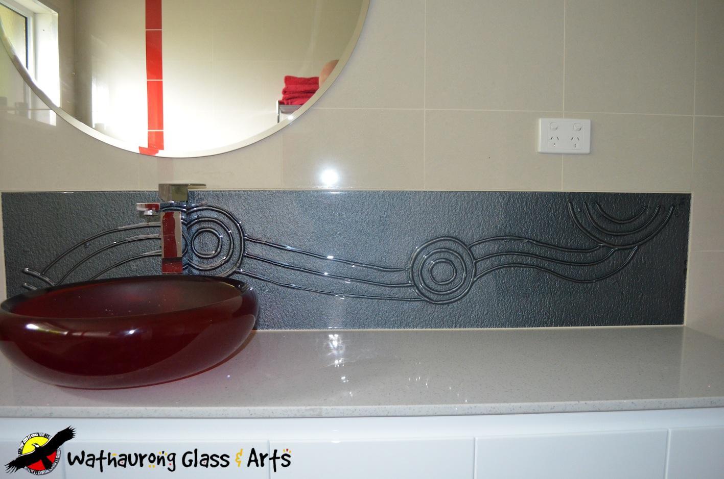 Glass splashbacks for bathroom sinks - Wathaurong Grey Vanity Splashback With Running Waterhole Design