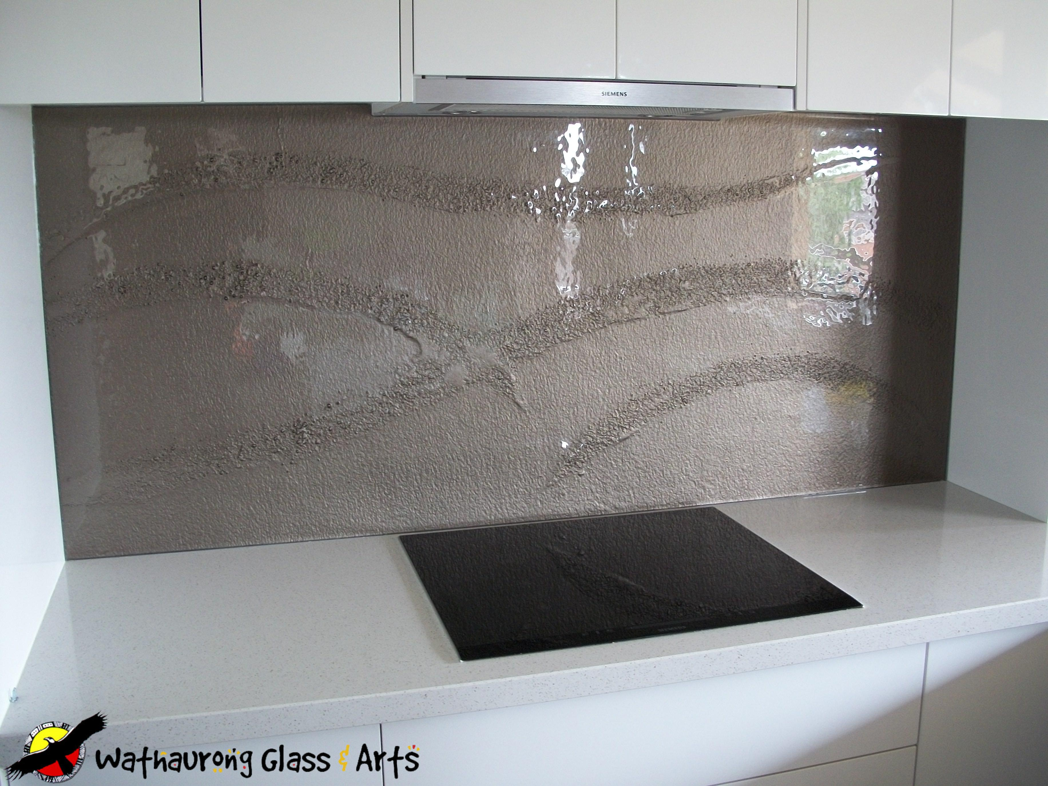 Bronze Glass Kitchen Splashback With Dry River Design