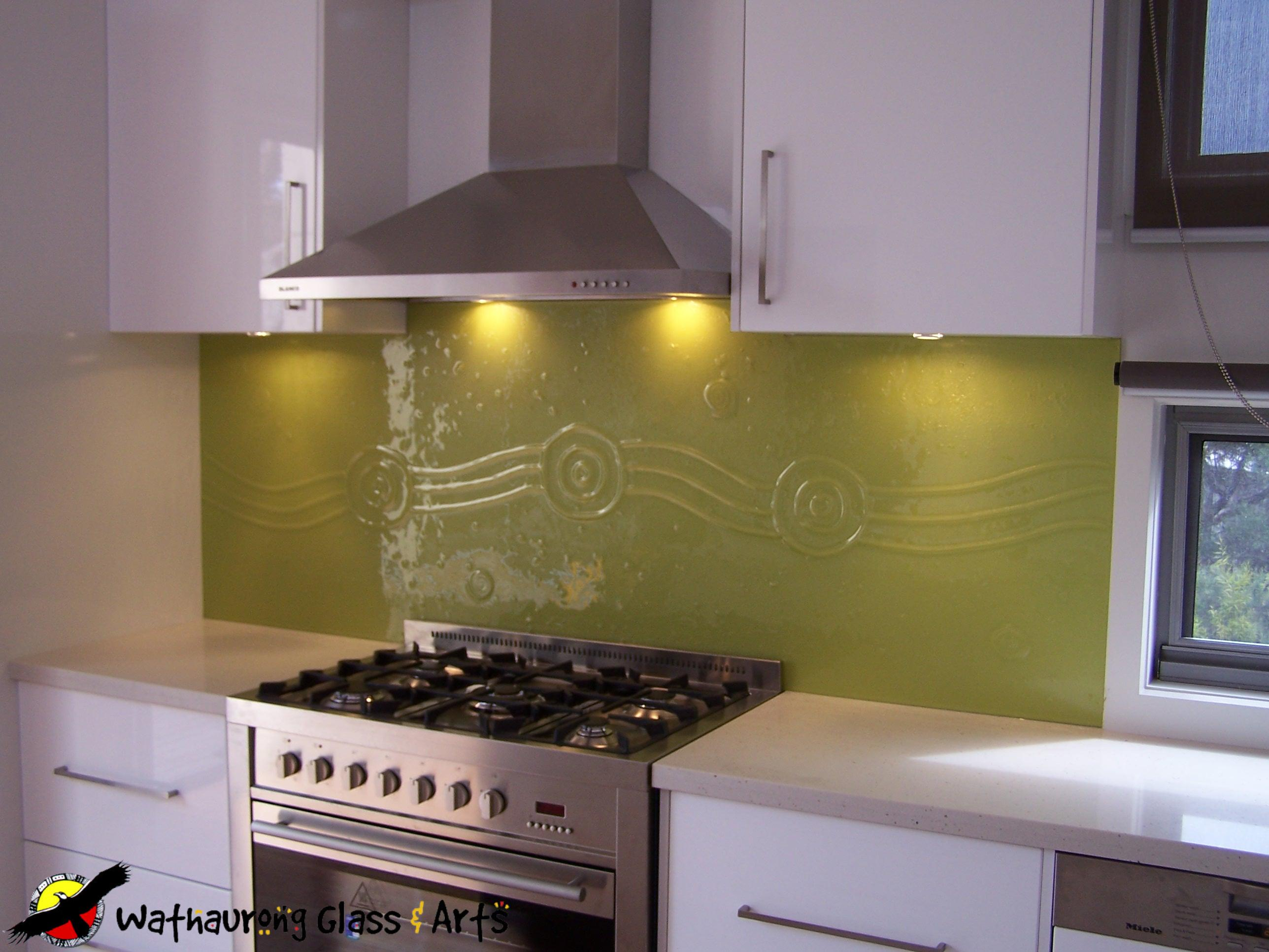 yellow kitchen splashback geelong with running waterhole design