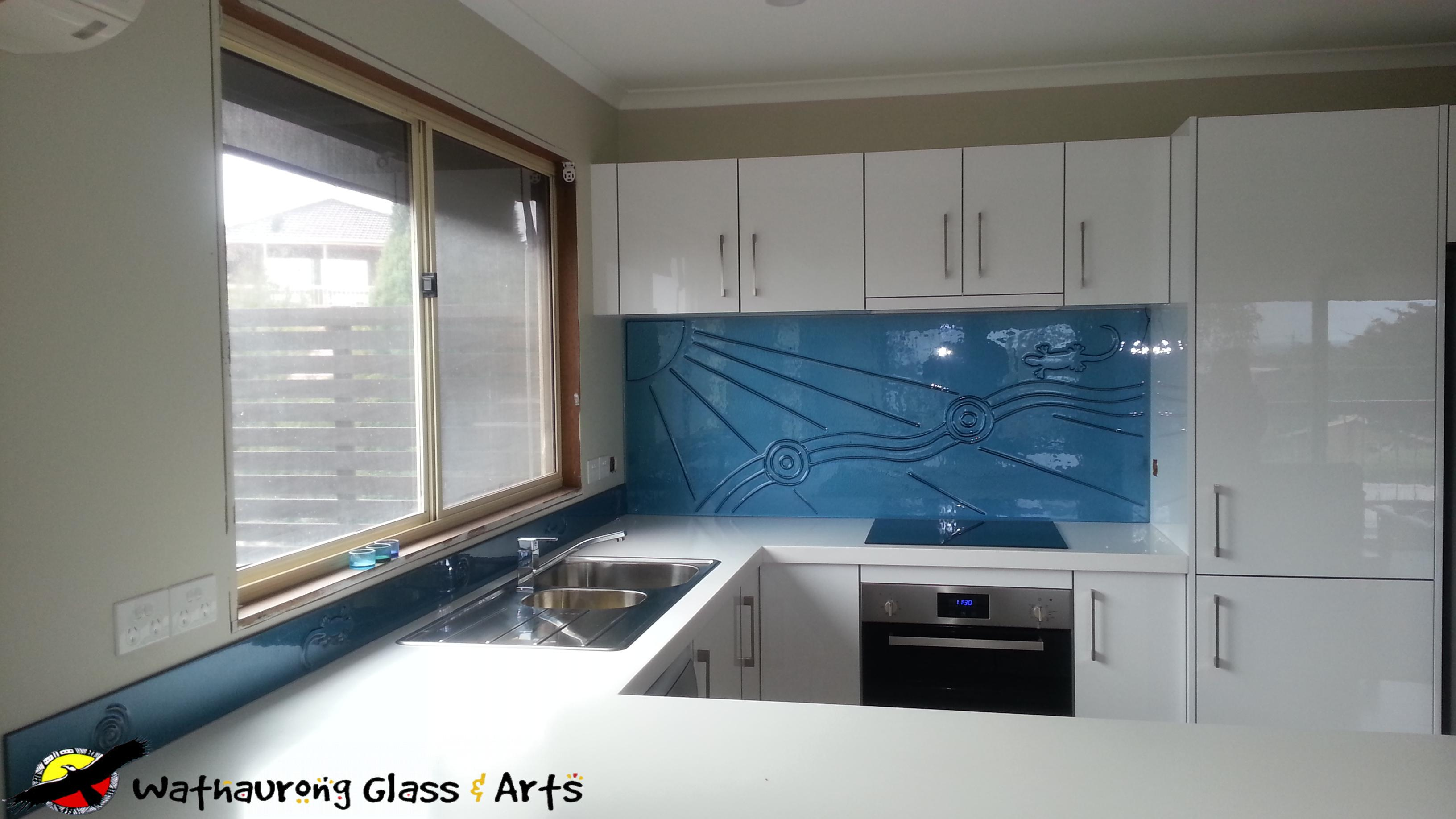 Blue Splashback White Kitchen - Wathaurong Glass