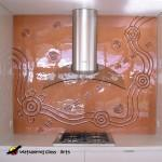 Copper running waterhole kitchen splashback with kangaroo tracks