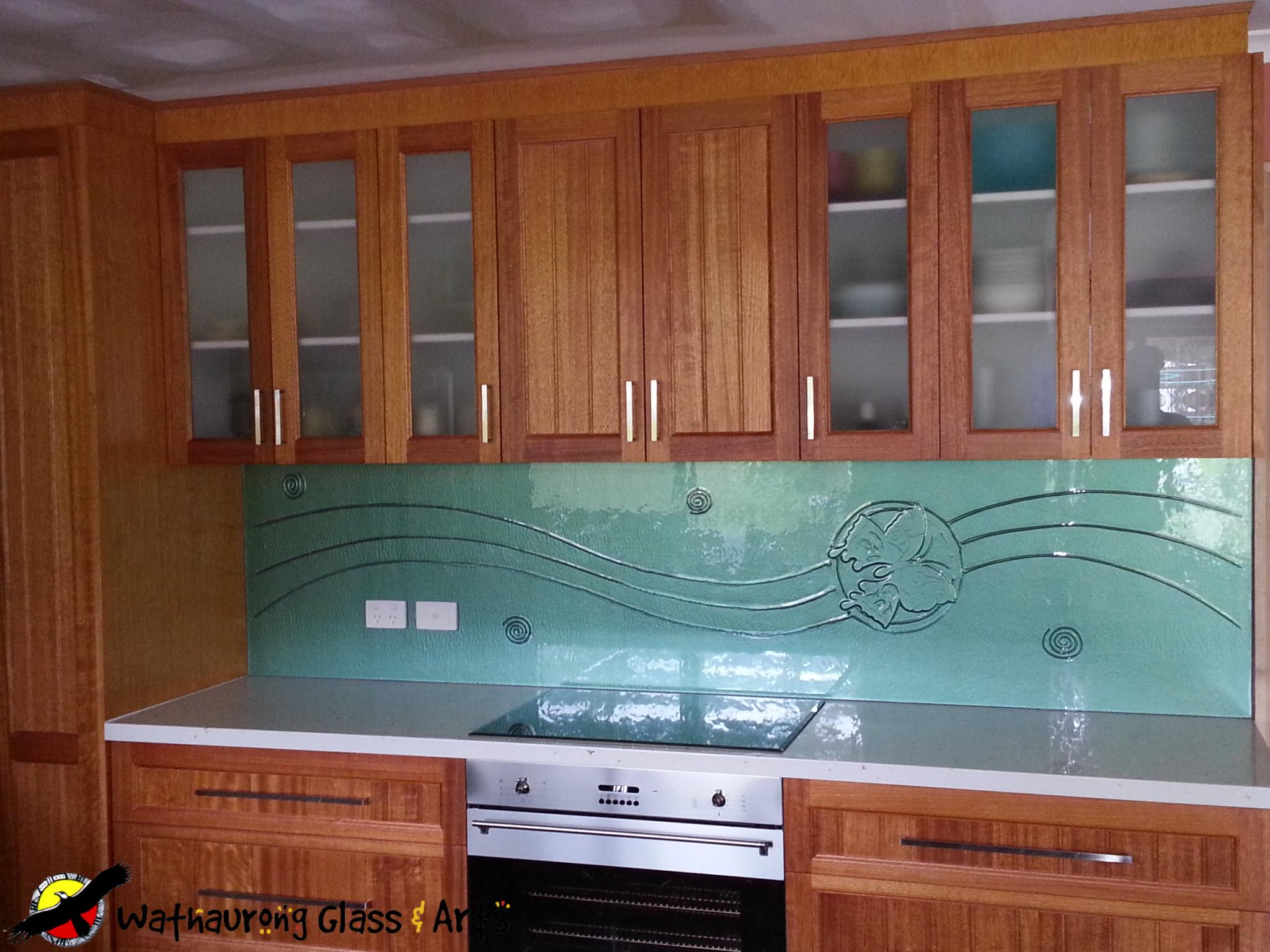 Light Green Splashback with Butterfly - Wathaurong Glass