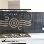 Bronze tree bark splashback with modern waterhole - Melbourne