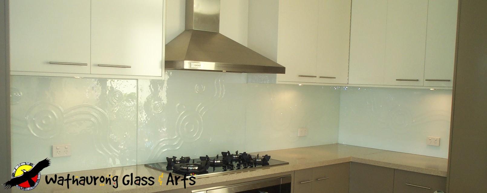 White Glass Tiles Kitchen Wall