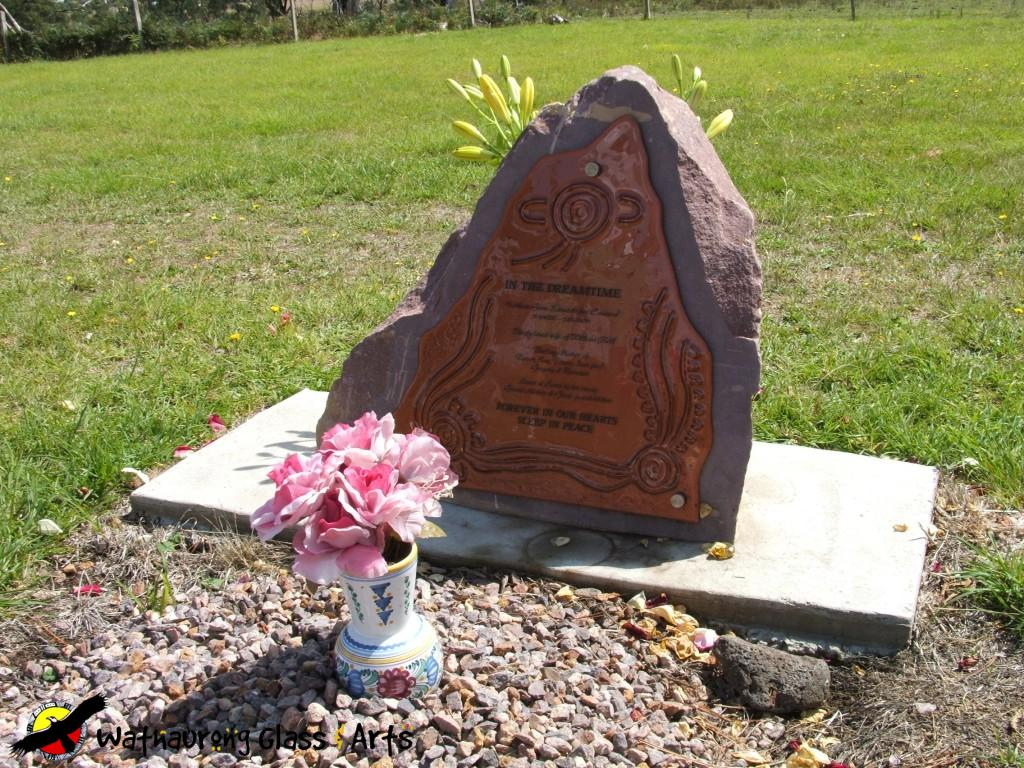 Copper Headstone Plaque Mounted To Large Stone